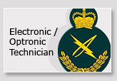 A green, signifying the land (army) division of the CAF crest, with gold crown, lightening bolt and laurel, to signify the Electronics-Optronics trade.