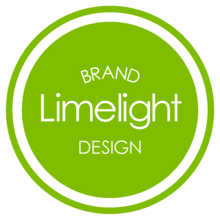 A grass green circle with white lettering that reads Brand Limelight Design. The circle is ringed by two other circles, first white and then the same green, to finish the logo design.